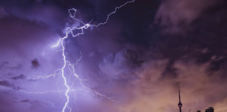 Lightning storm requiring surge protection
