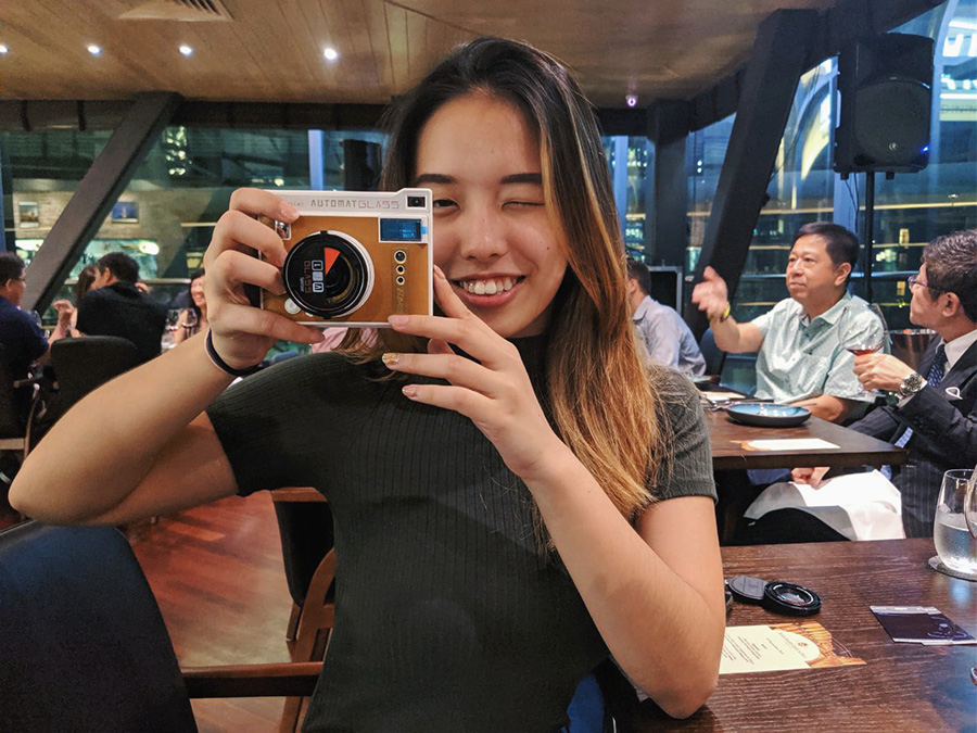 Zhimin with the Lomo'Instat Automat Glass