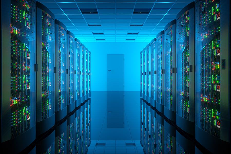Server room in data center. Telecommunication equipment. 3d illustration