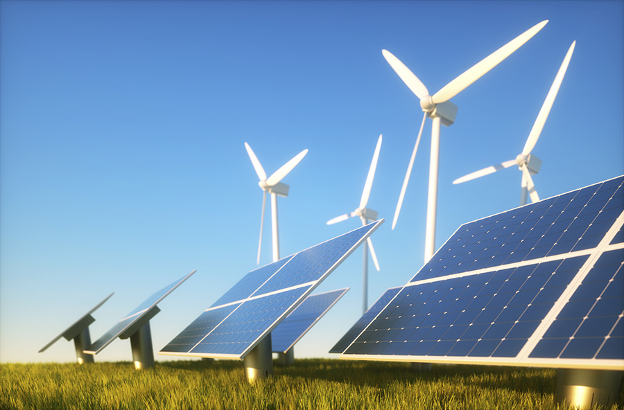 Green power concept with solar and wind power