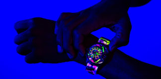 Illuminated in darkness while wearing THE ELECTRICIANZ's THE NEON Z