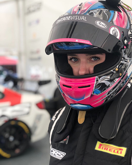 Hanna Zellers with a safety helmet