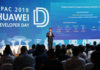 Zhang Ping'an, President, HUAWEI Consumer Cloud Service giving a speech at HUAWEI Developers Day APAC 2019