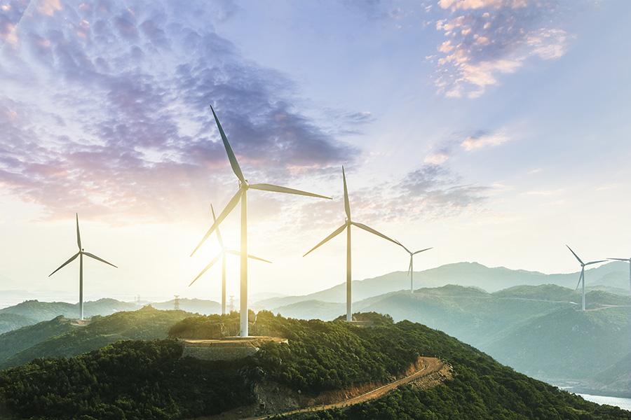 Wind Turbine sin sunset, china.