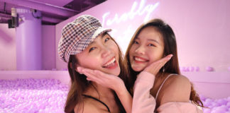 Averyl and friend at the Bubble Tea Exhibition, photo taken with the Canon EOS M200
