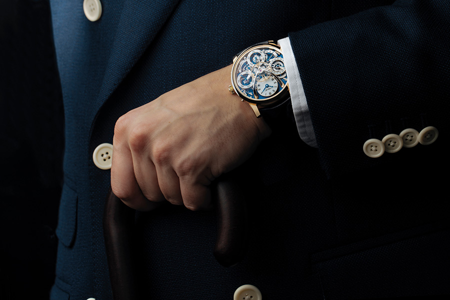 Man wearing the Legacy Machine Perpetual watch