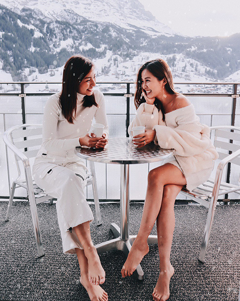 Vanessa and her friend in Switzerland, taken with the Canon EOS M6 Mark II