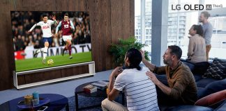 People watching an 8K match of Tottenham Hotspur Premier League on LG OLED TV