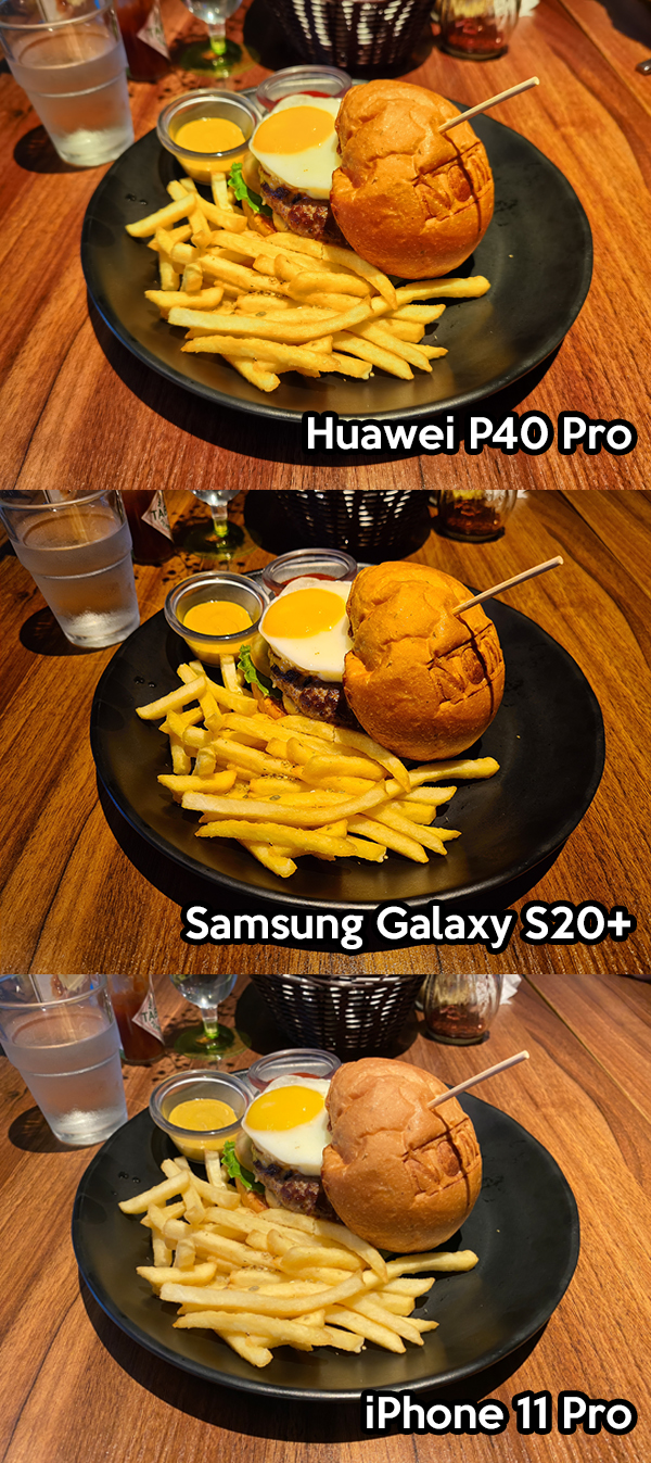 Huawei P40 Pro, Samsung Galaxy S20+, iPhone 11 Pro food photo comparison