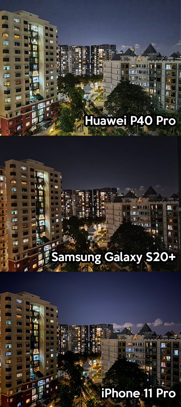 Huawei P40 Pro, Samsung Galaxy S20+, iPhone 11 Pro night photo comparison