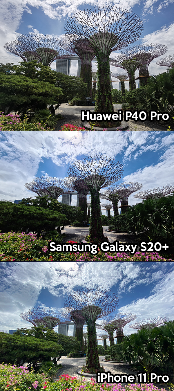 Huawei P40 Pro, Samsung Galaxy S20+, iPhone 11 Pro outdoor photo comparison
