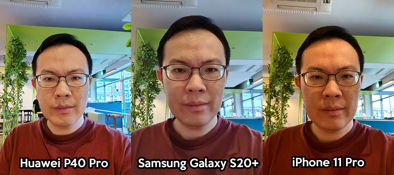 Huawei P40 Pro, Samsung Galaxy S20+, iPhone 11 Pro selfie photo comparison