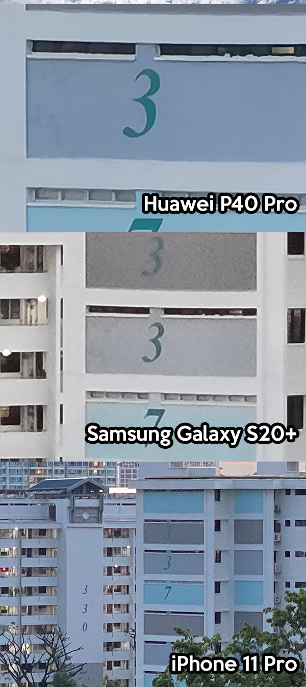 Huawei P40 Pro, Samsung Galaxy S20+, iPhone 11 Pro superzoom photo comparison