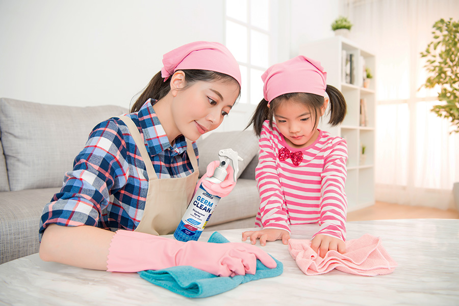 Mother using Sureclean Germclean with daughter