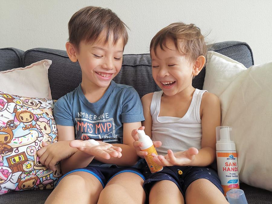 Children using Sureclean Sanihands