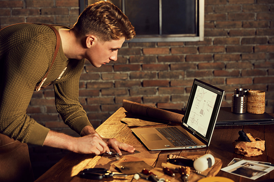 Man using the LG gram 17-inch laptop