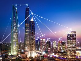Cityscape with edge computing network