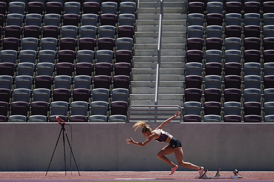Georganne Moline competes in women's 300-meter hurdles at the Weltklasse Zürich Inspiration Games at Mt. San Antonio College on Thursday, July 9, 2020, in Walnut, Calif. Athletes competed from seven different locations around the world. (AP Photo/Ashley Landis)