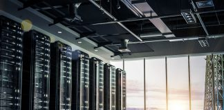 Network servers racks with skyline