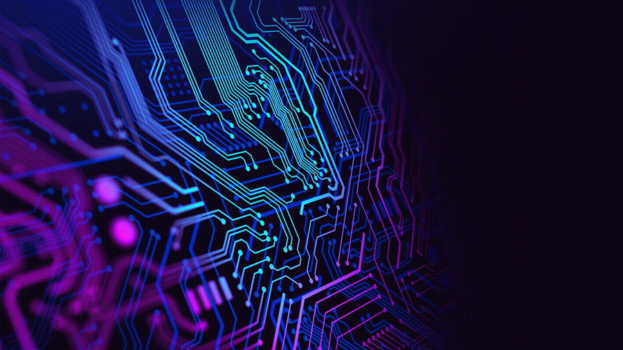 Blue and Purple technology background circuit board illustration. Suitable for technology background cover or banner