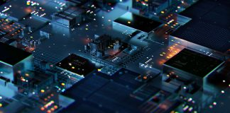 Digital generated image of cityscape data.